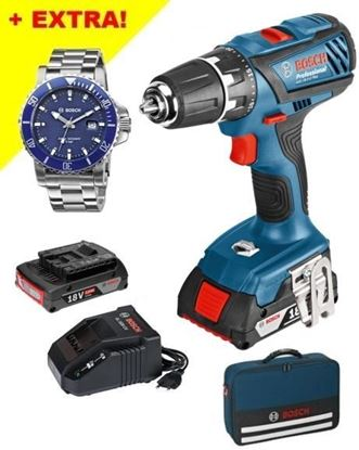 Снимка на Акумулаторен винтоверт GSR 18-2-LI Plus Professional(2x2.0Ah) в чанта+ПОДАРЪК Часовник Bosch