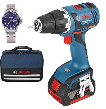 Снимка на Акумулаторен винтоверт GSR 18 V-EC Professional(1х2.0Аh+1x4.0Ah) в чанта+ПОДАРЪК Часовник Bosch