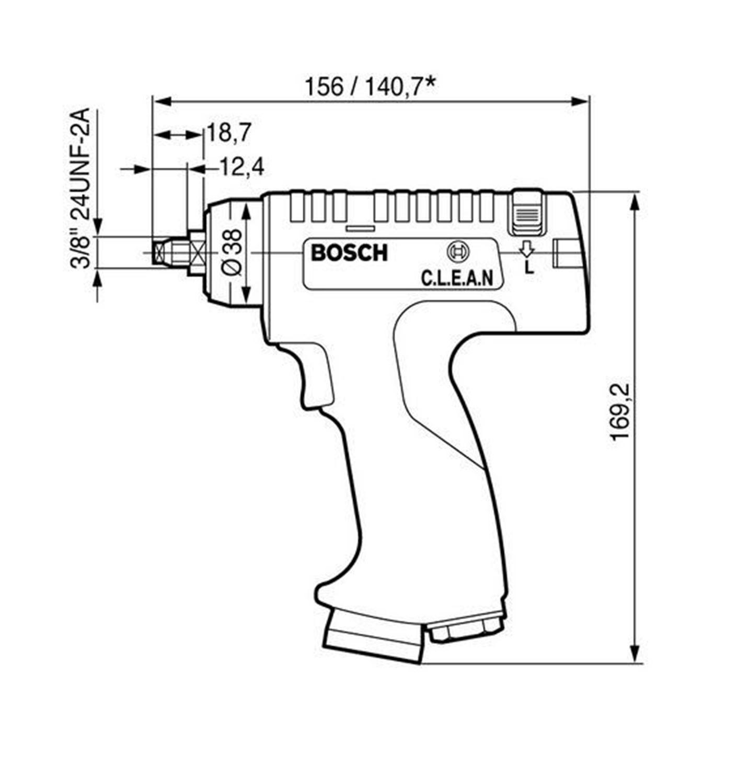 """Снимка на Пневм.борм.180 W, 1 предавка, пистолет, 4000 min-1, 4 mm ,1/2""""-20 UNF-2A"""