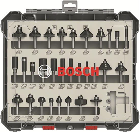 Снимка на Комплект фрезери за оберфреза, 30 части, смесени, 8 mm опашка;2607017475