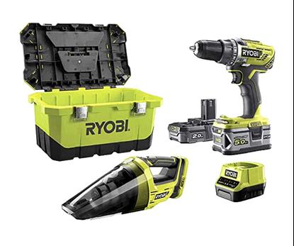 Снимка на ПРОМО!Акумулаторен пакет RYOBI R18DD3-252VT,18V,2х батерии-2.0Ah и 5.0Ah,бързо зарядно у-во,5133004292